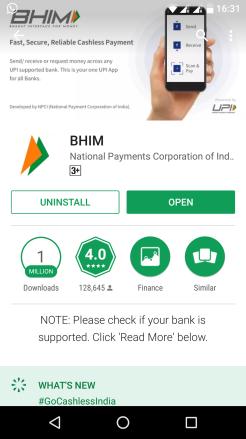 Bhim app in playstore